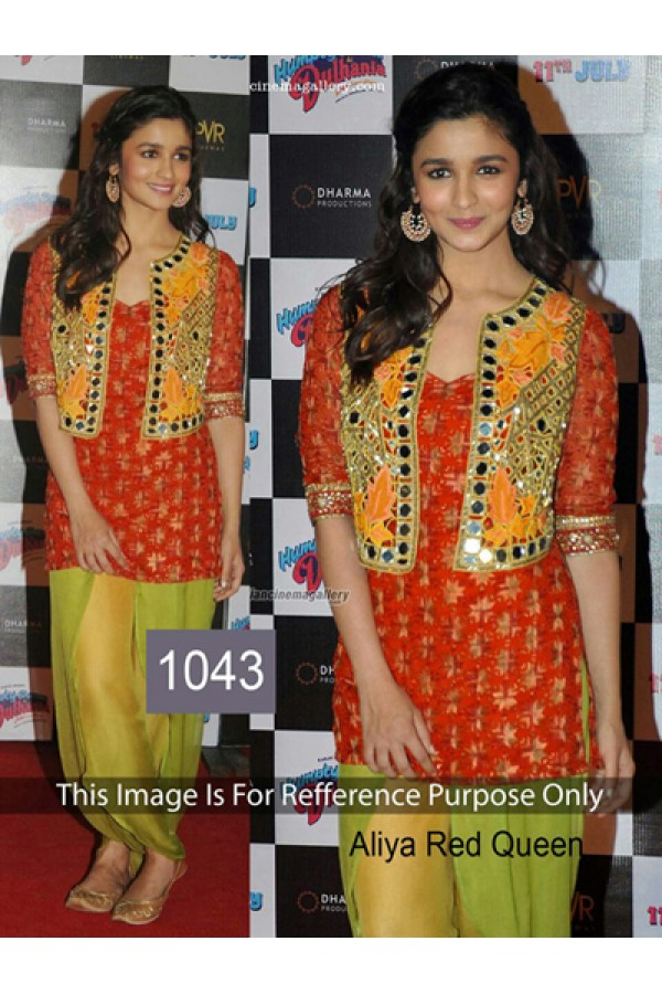Bollywood Replica -Alia Bhatt Red Georgette Salwar Suit  - 1043