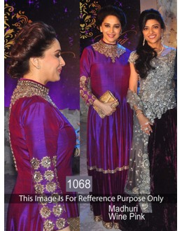 Bollywood Replica- Madhuri Dixit In Wine Pink Joya Silk Gown - 1068