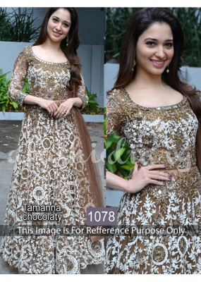 Bollywood Replica - Tamanna Bhatia In Brown & White  Anarkali Suit  - 1078