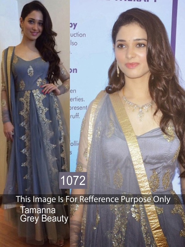 Bollywood Replica- Tamanna Bhatia In Grey Net Anarkali Suit - 1072