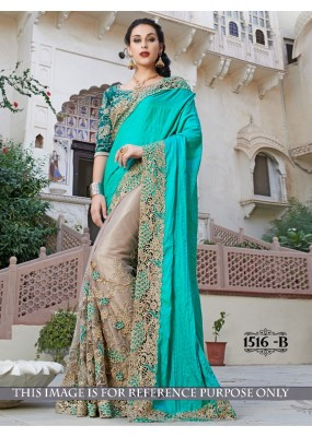 Crush Paper Silk Georgette Beige Saree - 1516 B