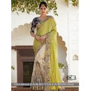Crush Paper Silk Georgette Cream Saree - 1516