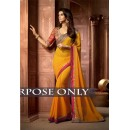 Party Wear Pedding Georgette Yellow Saree - 1513