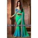 Pedding Georgette Green & Blue Saree - 1519