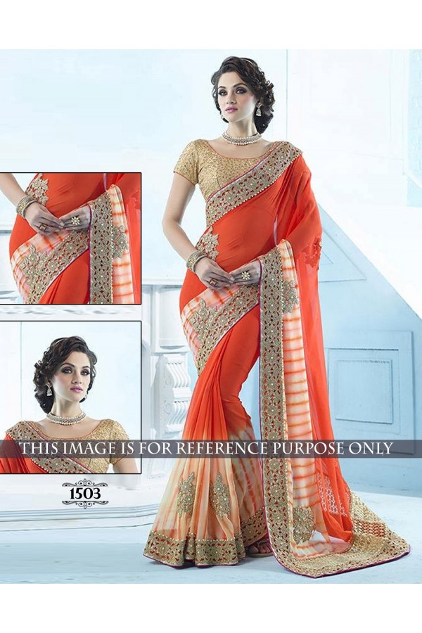 Shibori Print Georgette Orange Saree - 1503