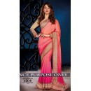 Silk Chiffon Pedding Georgette Peach & Pink Saree - 1504