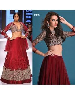 Bollywood Style - Bridal Wear Maroon Net Lehenga Choli - 6085