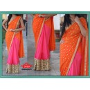 Bollywood Replica - Wedding Wear Orange & Pink Georgette Saree - 9689