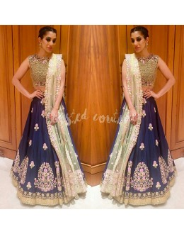 Bollywood Inspired - Sophie Choudry In  Designer Blue Silk Lehenga Choli  - AB-59