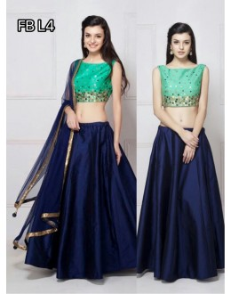 Bollywood Replica - Designer Green & Blue Silk Lehenga Choli - FB-L4
