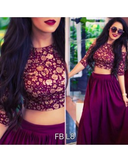 Bollywood Replica - Party Wear Dark Purple Crop Top Lehenga - FB-L8
