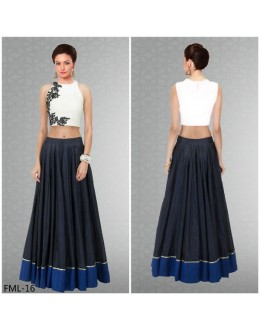 Bollywood Replica - Party Wear White & Black Crop Top Lehenga - FML-16