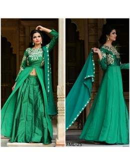Bollywood Inspired - Party Wear Taffeta Silk Green Indo Western Suit - FML-25
