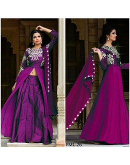 Bollywood Inspired - Designer Taffeta Silk Purple Indo Western Suit - FML-26
