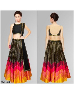 Bollywood Style- Party Wear Black Silk Lehenga Choli- FML-28
