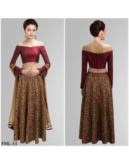 Bollywood Style - Party Wear Maroon & Cream Lehenga Choli- FML-33