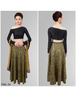 Bollywood Style - Party Wear Black & Cream Lehenga Choli- FML-34