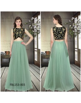 Bollywood Style - Party Wear Turquoise Crop Top Lehenga - FBL153-003