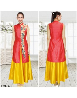 Bollywood Inspired - Party Wear Red & Yellow Indo Western Suit - FML-17