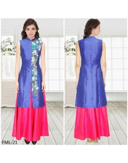 Bollywood Inspired - Blue Achkan Jacket With Pink Skirt - FML-21