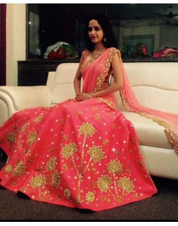 Bollywood Replica - Wedding Wear Gajri Pink Silk Lehenga Choli - GM01