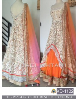 Bollywood Style -Party Wear White & Orange Net Gown - KD-1122