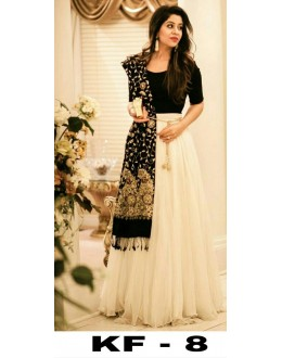 Bollywood Replica - Party Wear Off-White & Black Lehenga Choli - KF-8