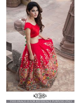 Bollywood Style - Wedding Wear Red Silk Lehenga Choli - KT-2053