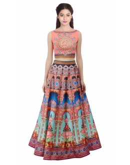 Bollywood Style - Party Wear Pink Digital Printed Lehenga Choli - KZL-023