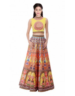 Bollywood Style - Party Wear Yellow Digital Printed Lehenga Choli - KZL-024