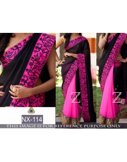 Bollywood Replica - Party Wear Black & Pink Saree - NX-114