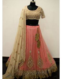 Bollywood Style - Wedding Wear Peach & Golden Lehenga Choli - NX-144