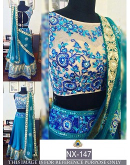 Bollywood Replica - Wedding Wear Blue & Cream Banglori Silk Lehenga Choli - NX-147