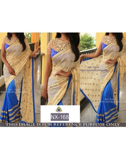 Bollywood Replica - Party Wear Blue & Cream Georgette Saree  - NX-168
