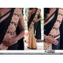 Bollywood Style - Wedding Wear Black & Cream Half & Half Saree - NX-178