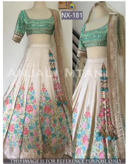Bollywood Replica - Wedding Wear Off-White & Blue Silk Lehenga Choli - NX-181