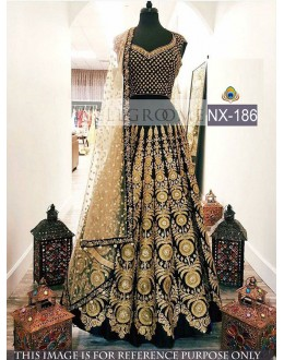 Bollywood Style - Heavy Designer Black & Dark Cream LehengaCholi - NX-186
