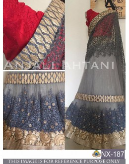 Bollywood Style - Party Wear Grey Embroidered Lehenga Choli - NX-187