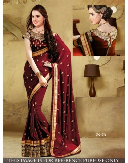 Bollywood Replica - Designer Maroon Georgette Saree - SN-5-B
