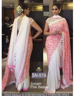 Bollywood Replica - Sonam Kapoor White Pink Georgette Saree - SN-519