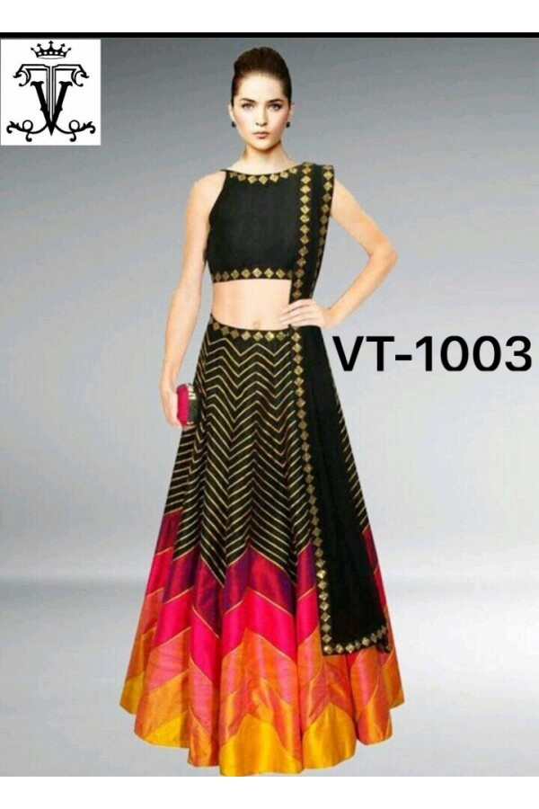 Bollywood Replica - Heavy Digital printed Black Silk Lehenga Choli - VT-1003