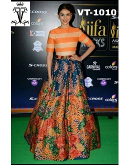 Bollywood Replica - Aditi Rao Hydari In Multi-Colour Crop Top Lehnega - VT-1010