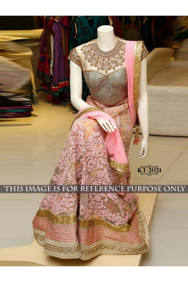 Bollywood Replica - Wedding Wear Pink Net Lehenga Choli  - KT-2021