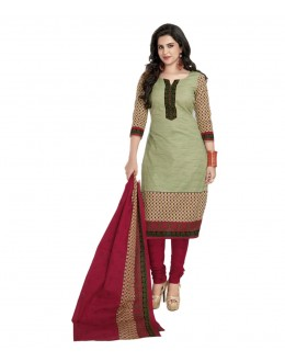 Party Wear Beige & Pink Cotton Churidar Suit Dress Material - 116