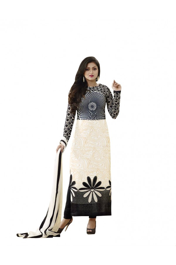 Party Wear Black & White Printed Cotton Unstitched Salwar Suit - 117