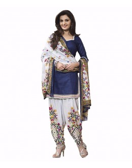 Party Wear Blue Cotton Salwar Suit Dress Material - 105