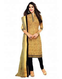 Party Wear Khaki Black Cotton Churidar Suit Dress Material - 112