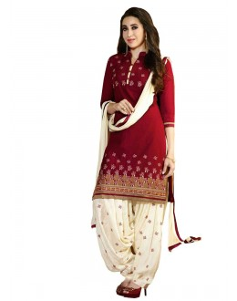 Party Wear Red Crepe Salwar Suit Dress Material - 103