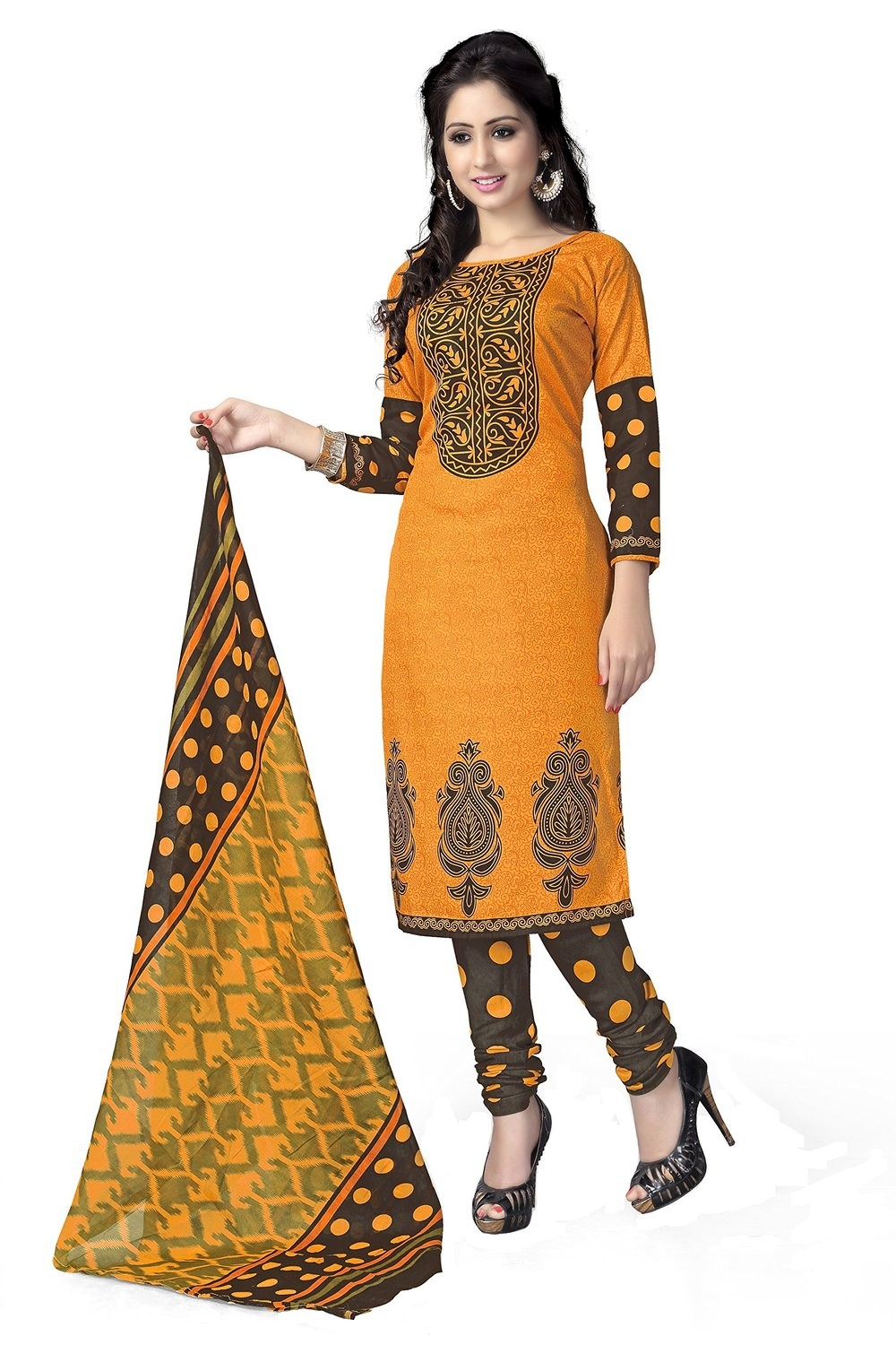 Party Wear Yellow Crepe Churidar Suit Dress Material - 107