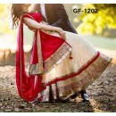 Designer Cream & Red Embroidered Lehenga Choli - 224